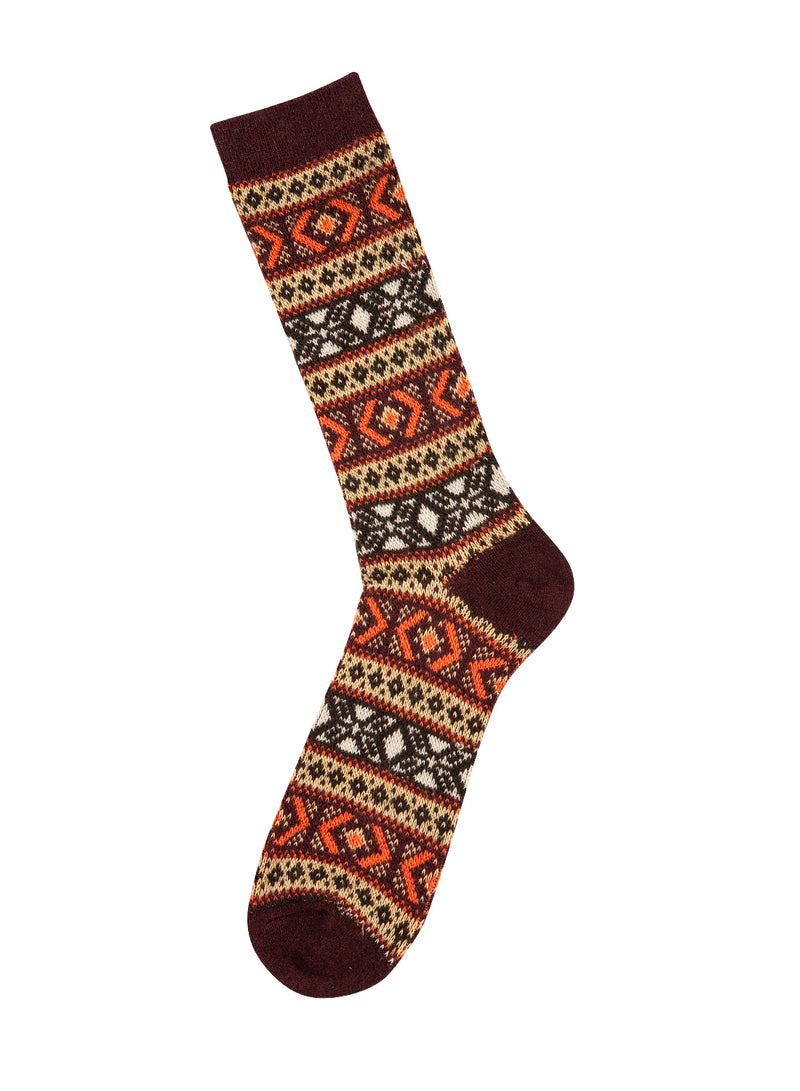 Wool Jacquard Sock - Burgundy/Multi