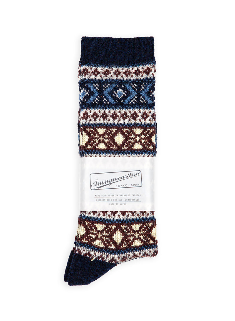 anonymous ism wool jacquard sock navy multi aw 2020