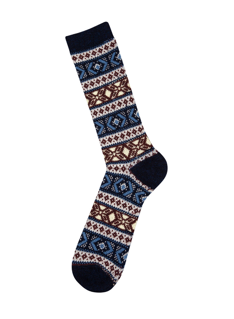 Wool Jacquard Sock - Navy/Multi