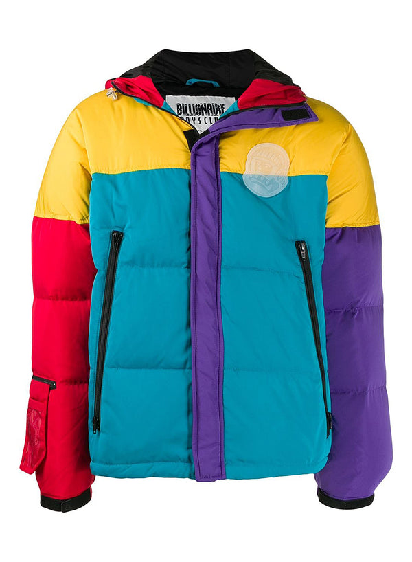 billionaire boys club colour block puffer jacket yellow ss 2020