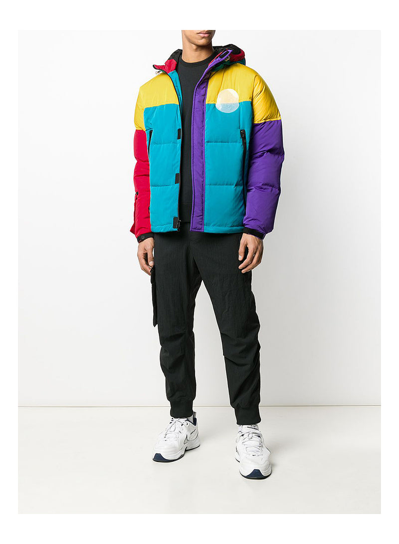 Colour Block Puffer Jacket - Yellow