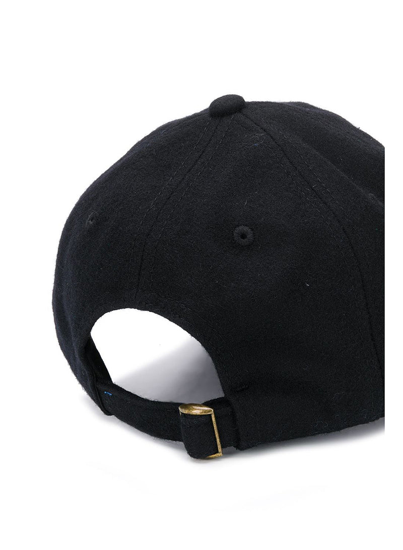 Embroidered Wool Cap - Black