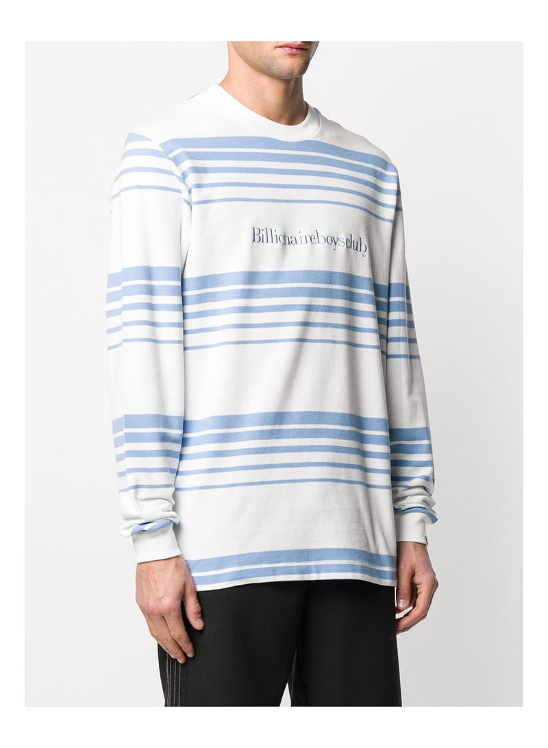Striped Knit L/S Tee - White