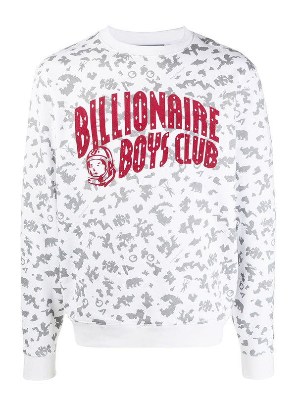 billionaire boys club arch logo all over print sweat white ss 2021