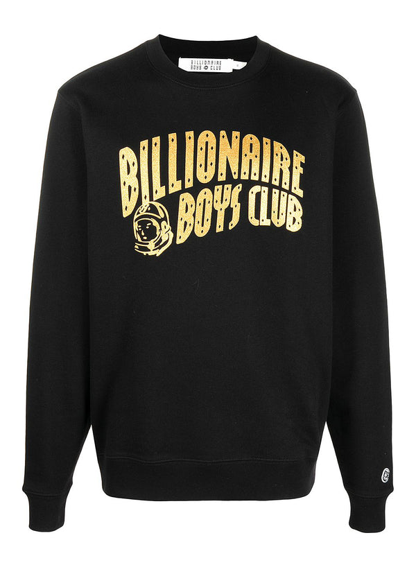 billionaire boys club arch logo glitter sweat black gold ss 2021
