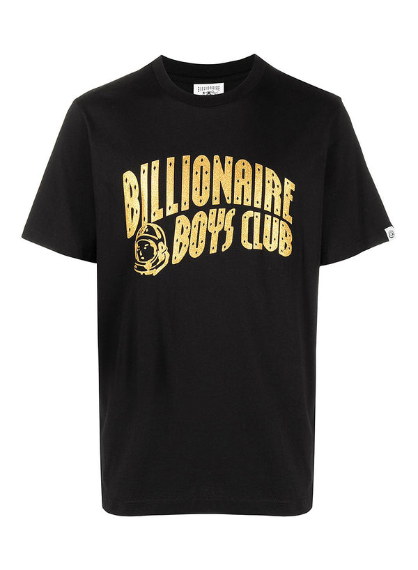 billionaire boys club arch logo glitter tee black gold ss 2021