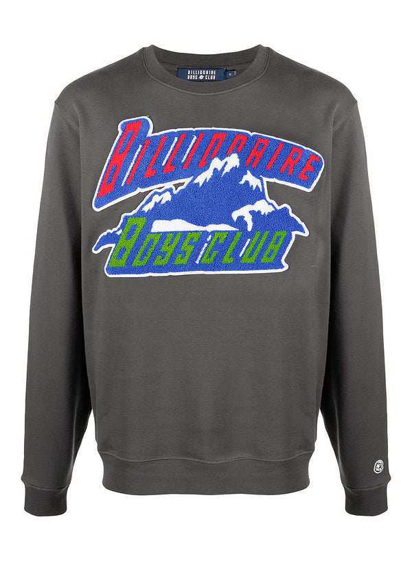 billionaire boys club chenille mountain logo crewneck sweat dark grey aw 2020