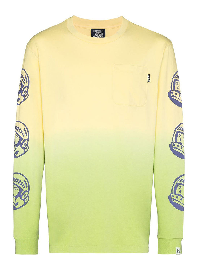 billionaire boys club dip dye long sleeve tee lime aw 2020