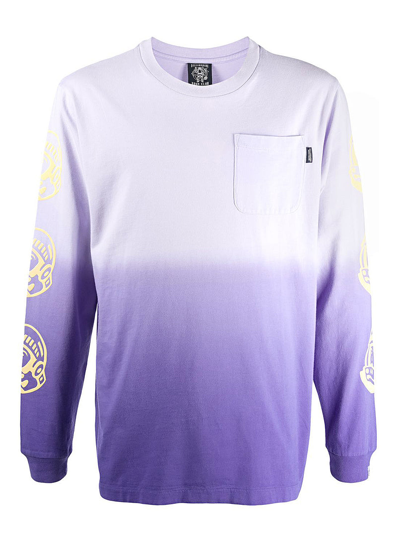 billionaire boys club dip dye long sleeve tee purple aw 2020