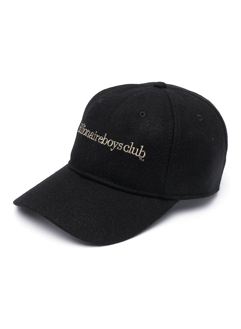 Embroidered Curved Visor Cap - Black