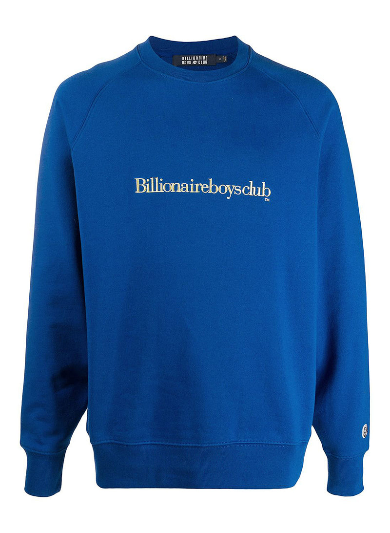 billionaire boys club embroidered logo crewneck sweat blue aw 2020