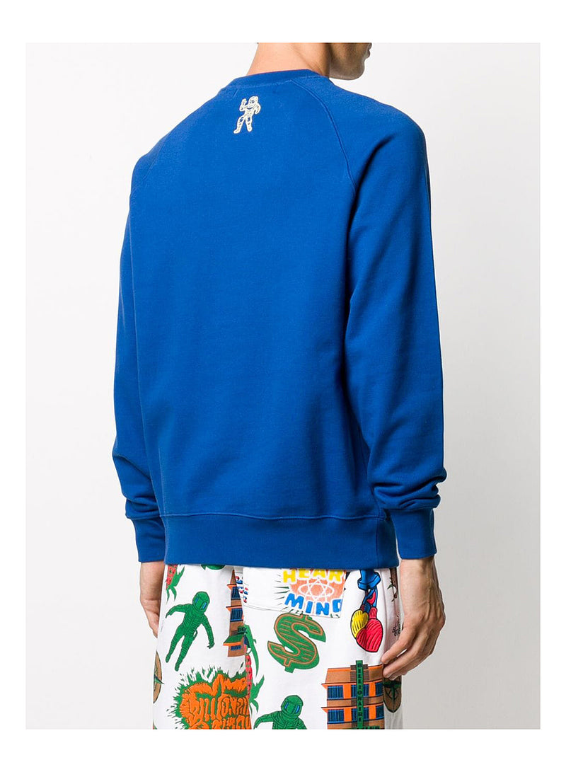 Embroidered Logo Crewneck Sweat - Blue