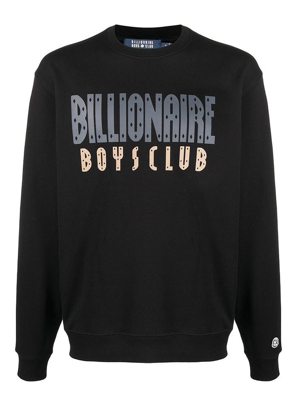 billionaire boys club straight logo crewneck sweat black aw 2020