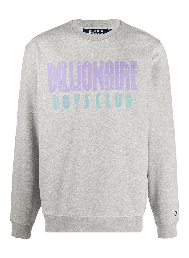billionaire boys club straight logo crewneck sweat heather grey aw 2020