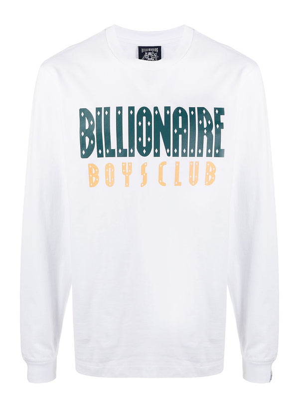 billionaire boys club straight logo long sleeve tee white ss 2021