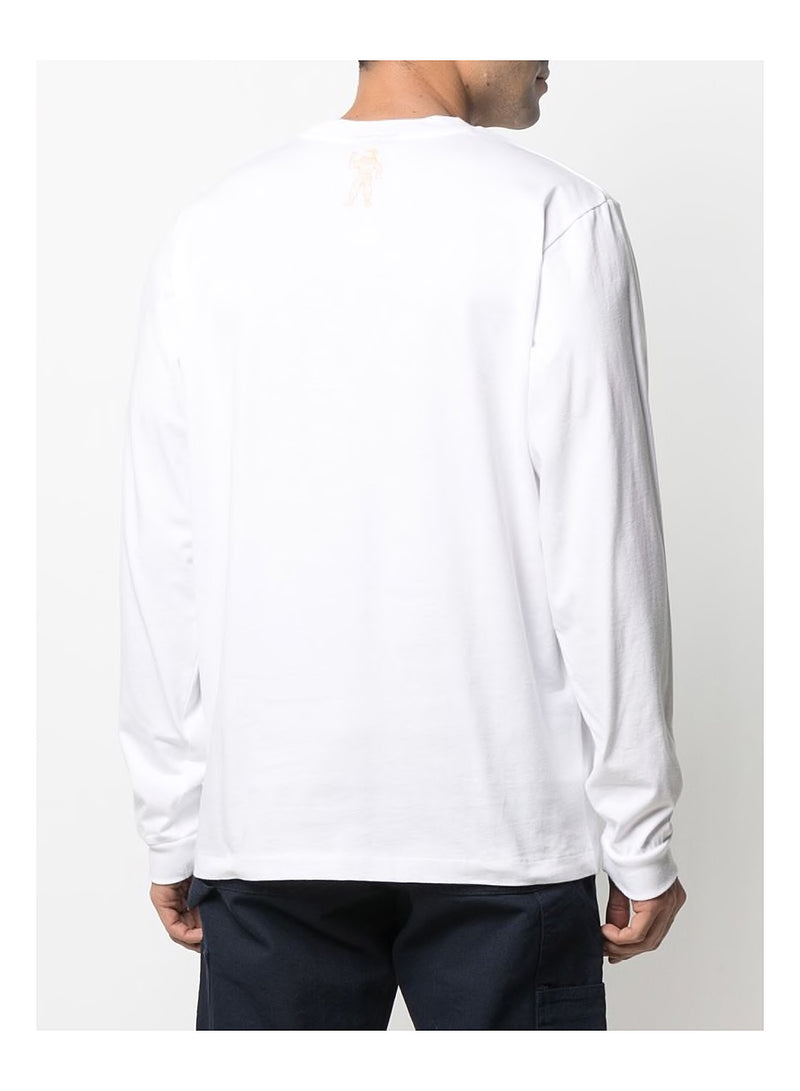 Straight Logo Long Sleeve Tee - White