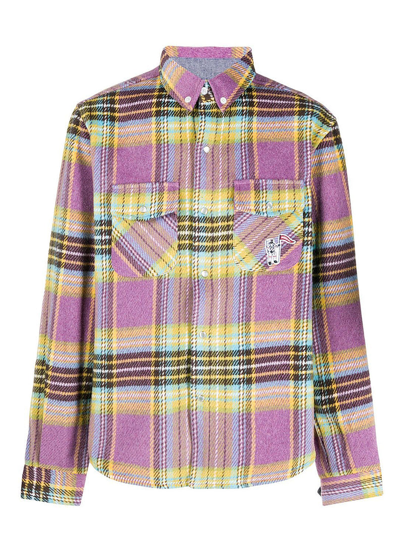 billionaire boys club wool check shirt purple aw 2020