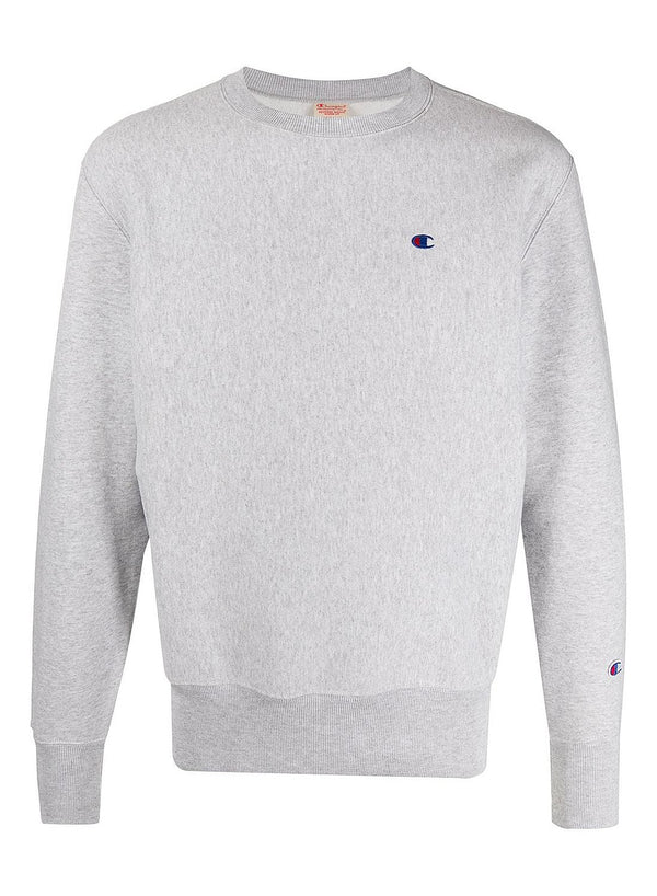 champion crewneck small logo sweat grey marl ss 2020