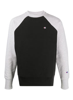 champion small logo contrast raglan sleeve sweat black grey aw 2020