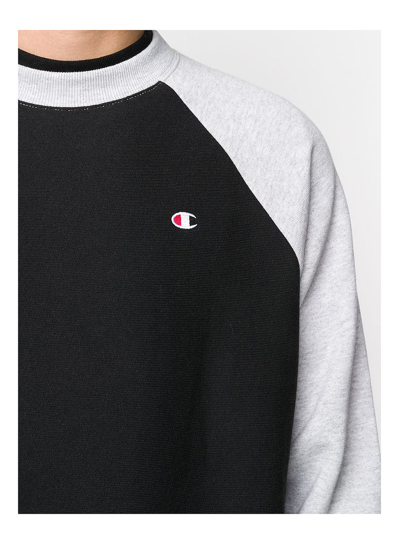 Small Logo Contrast Raglan Sleeve Sweat - Black/Grey