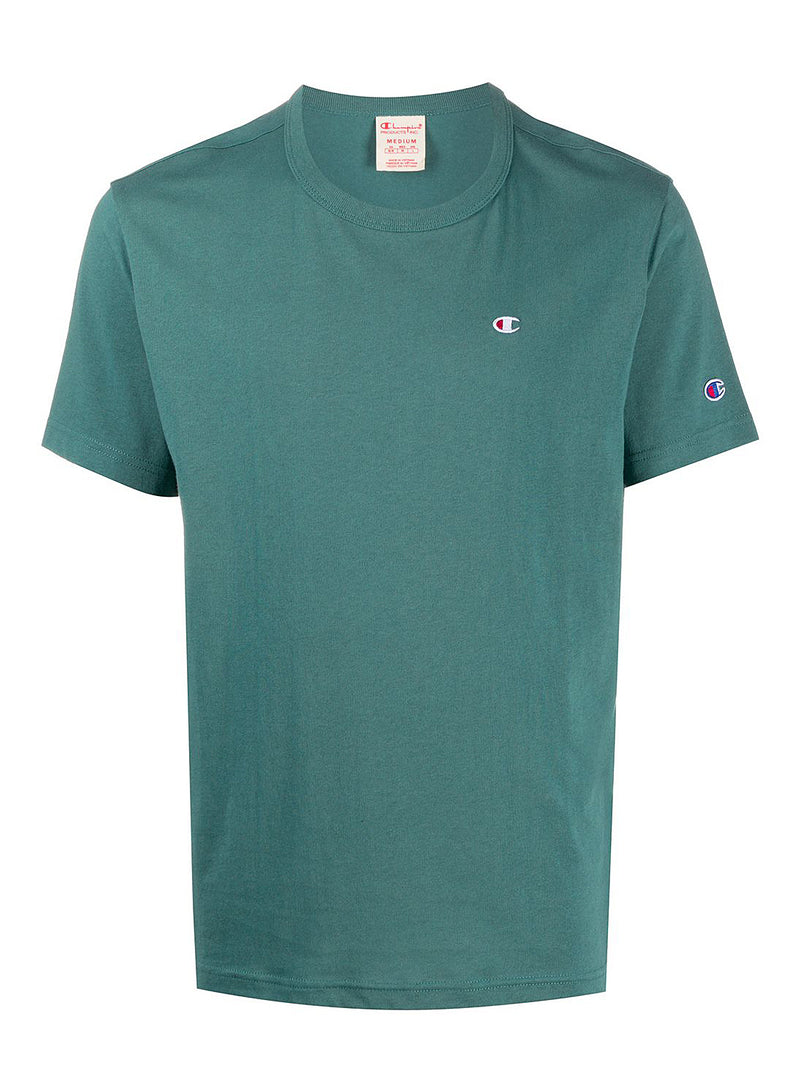 champion small logo crew neck tee green aw 2020