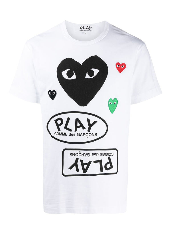comme des garcons play black heart play tee white ss 2021