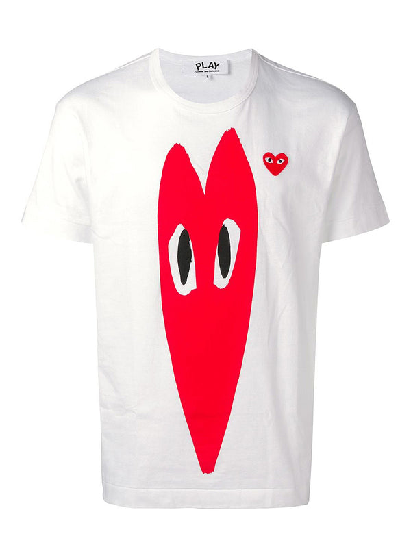 comme des garcons play double heart tee white ss 2021