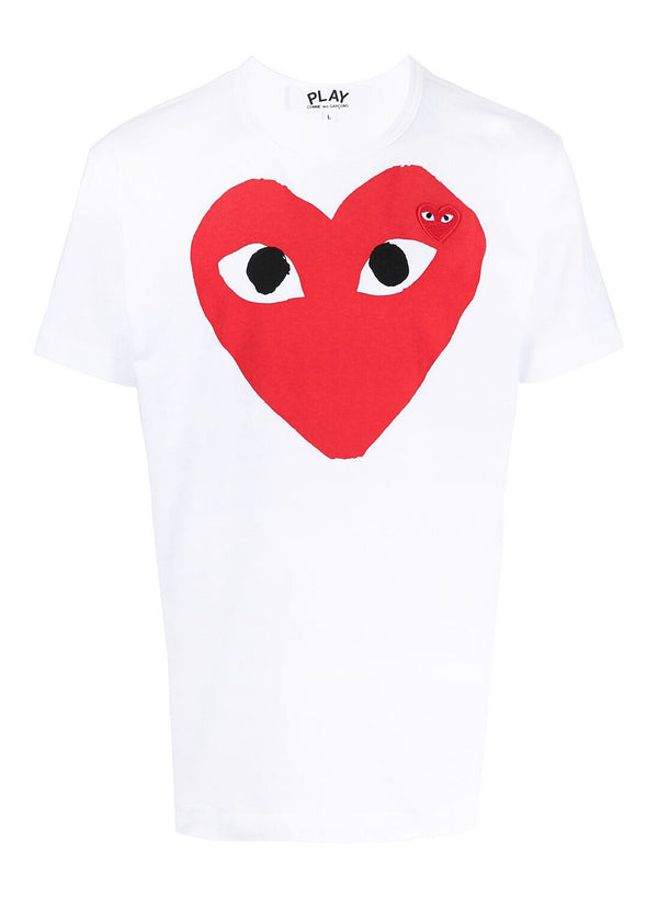 comme des garcons play large heart tee white ss 2021