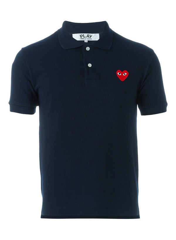 comme des garcons play little heart polo shirt navy ss 2021