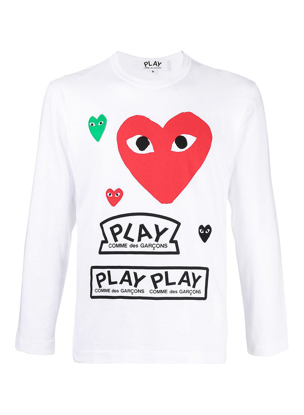 comme des garcons play red heart play long sleeve tee white ss 2021