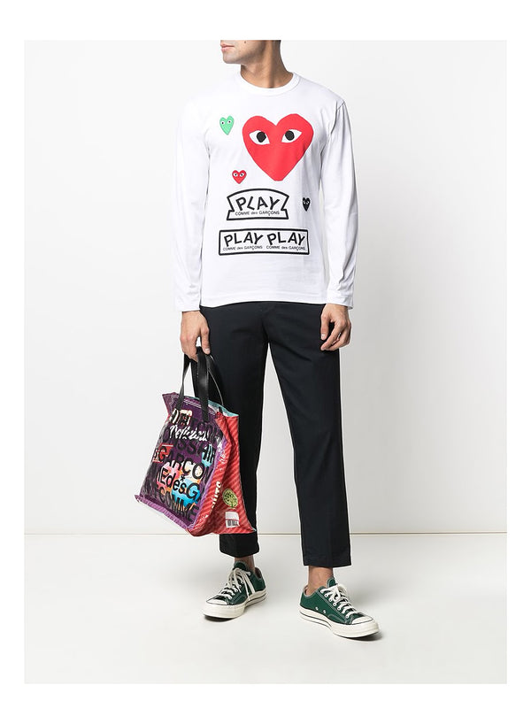 Red Heart PLAY Long Sleeve Tee - White