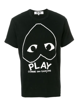 comme des garcons play upside down heart tee black ss 2021