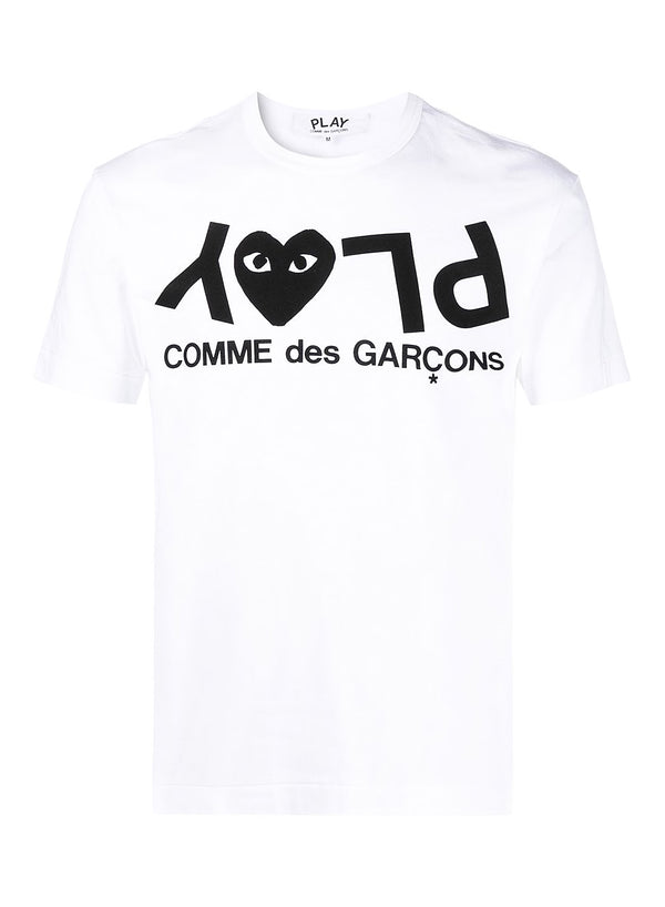 comme des garcons play upside down play tee white ss 2021