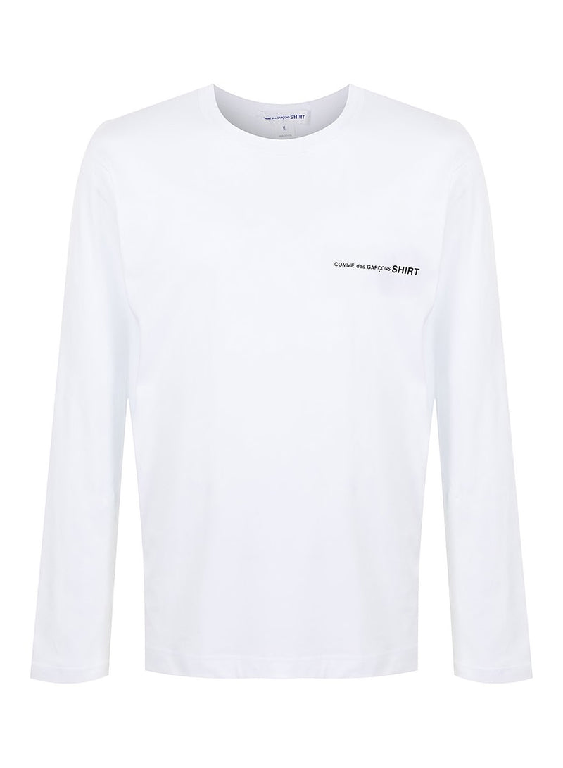 comme des garcons shirt chest logo long sleeve tee white ss 2021