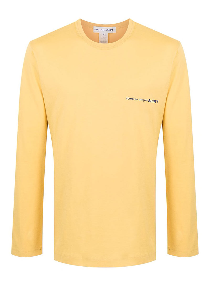 comme des garcons shirt chest logo long sleeve tee yellow ss 2021