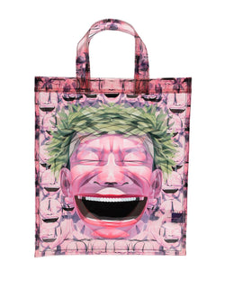 comme des garcons shirt laughing head tote bag print ss 2021