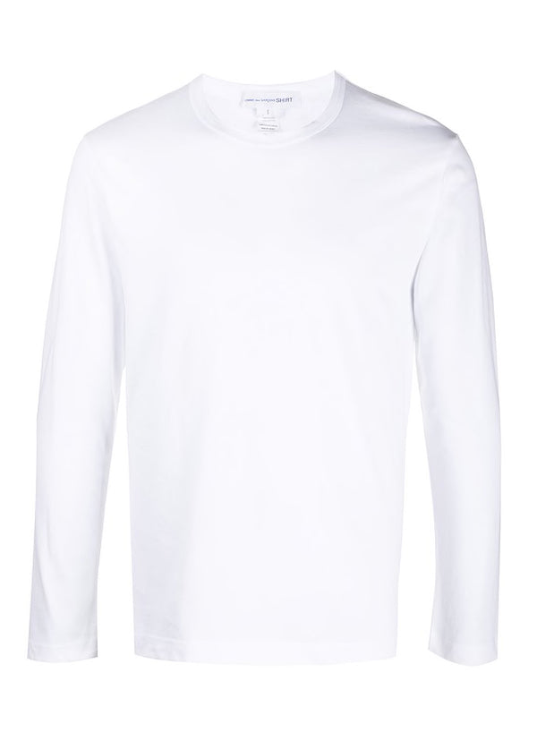 comme des garcons shirt long sleeve tee white aw 2020