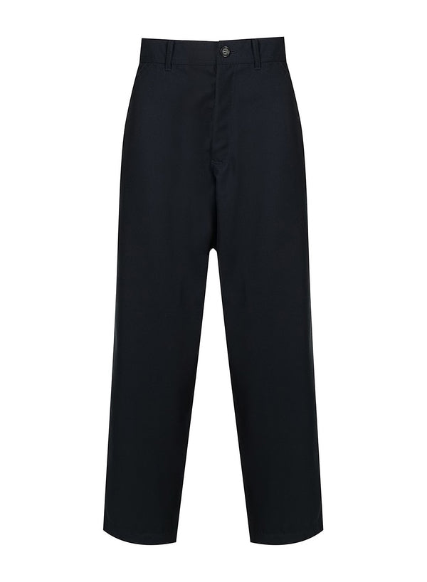 comme des garcons shirt wide legged trouser navy ss 2021