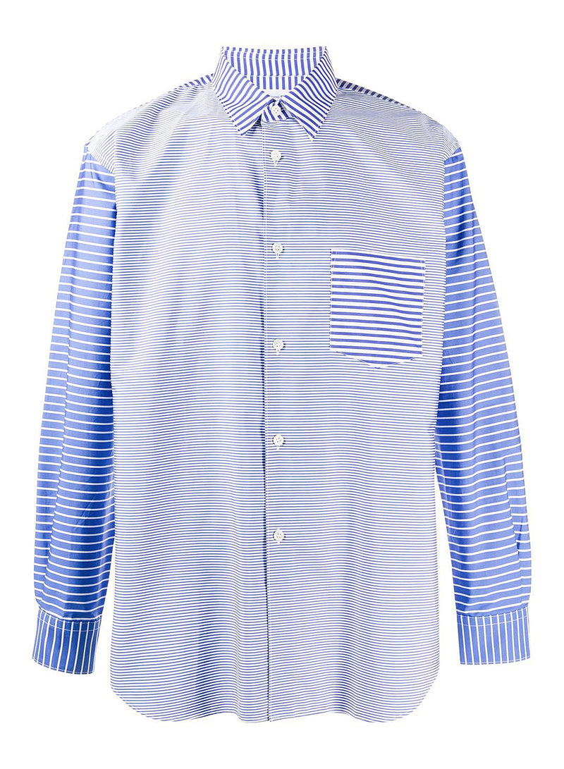 comme des garcons shirt yarn dyed poplin shirt blue white aw 2020