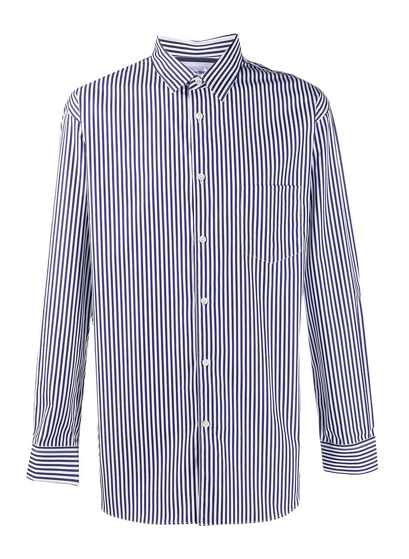 comme des garcons shirt yarn dyed poplin shirt white navy aw 2020