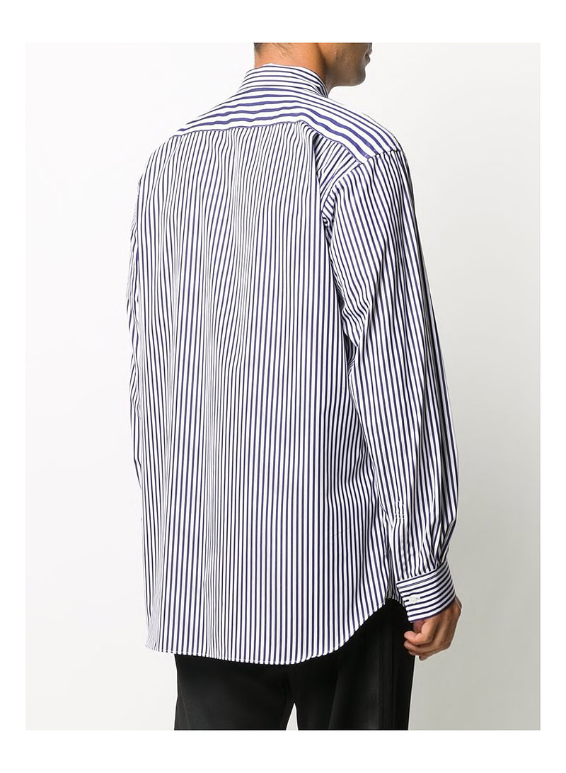 Yarn Dyed Poplin Shirt - White/Navy
