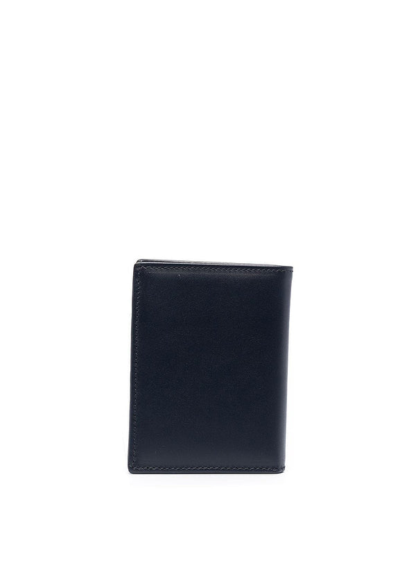 Classic Leather Fold Wallet - Navy