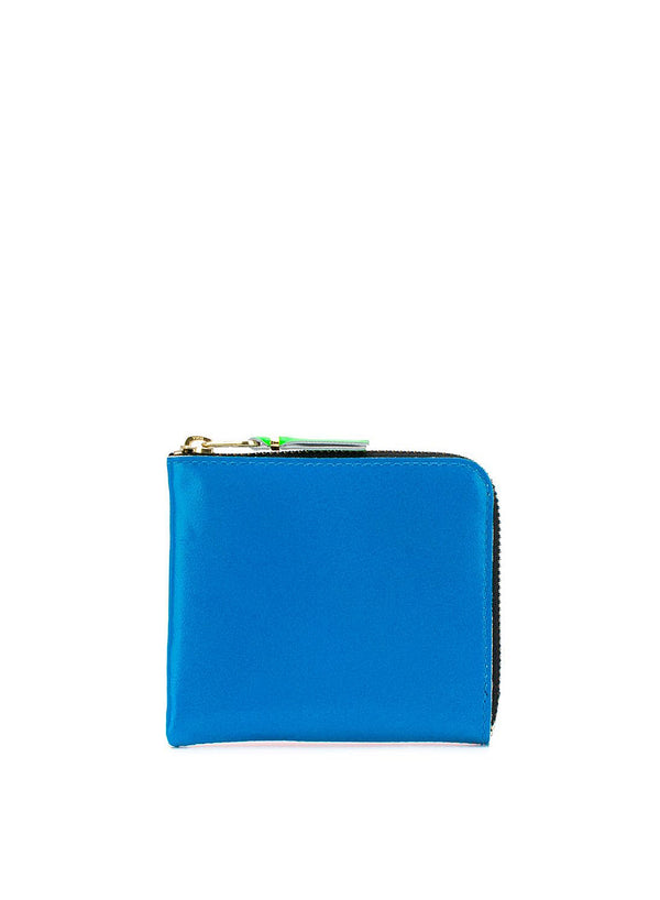 Classic Leather Polka Dot Zip Wallet - Orange/Blue