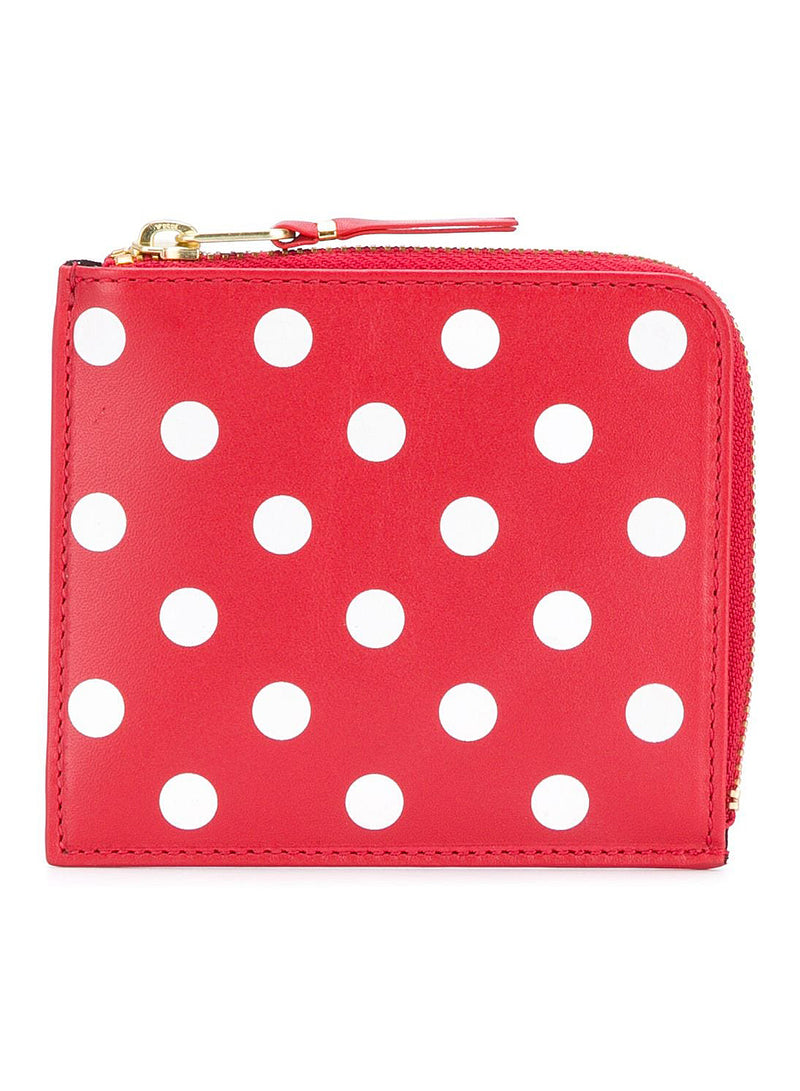 comme des garcons wallet classic leather polka dot zip wallet red ss 2021