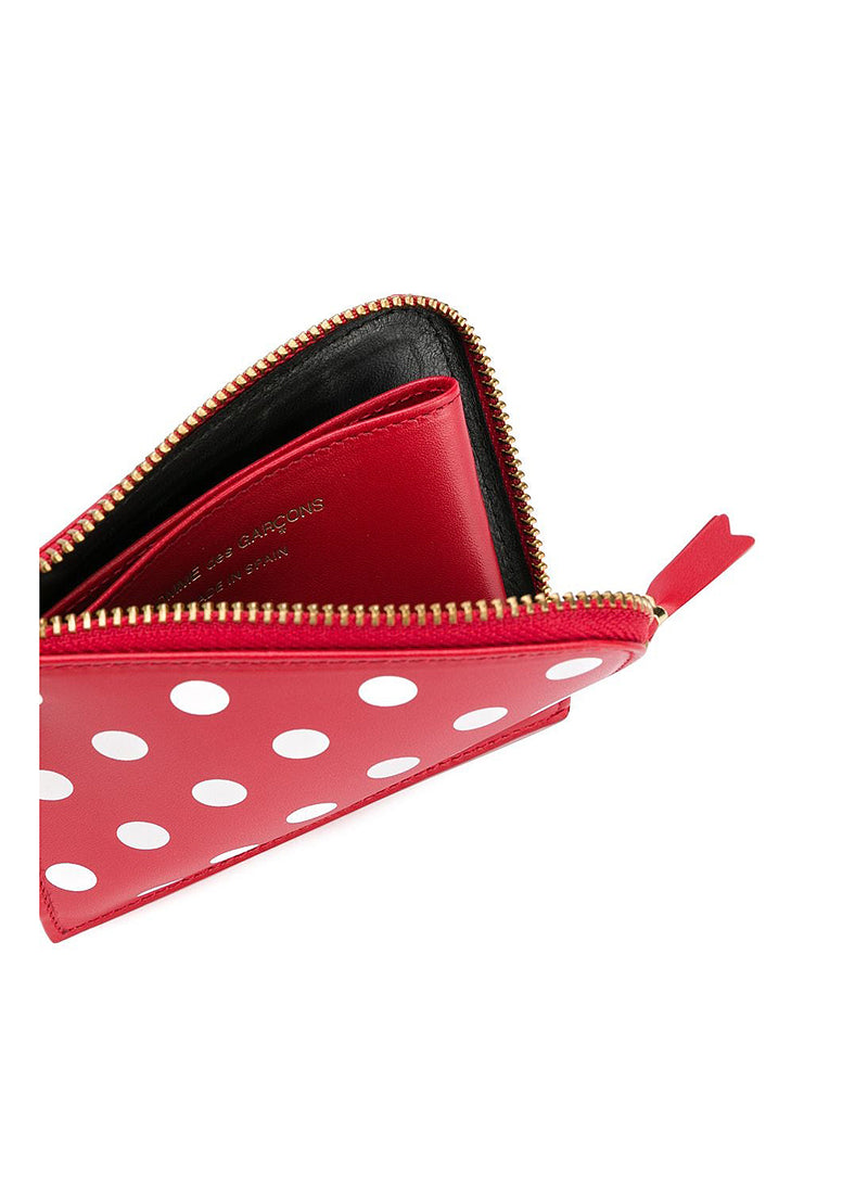 Classic Leather Polka Dot Zip Wallet - Red
