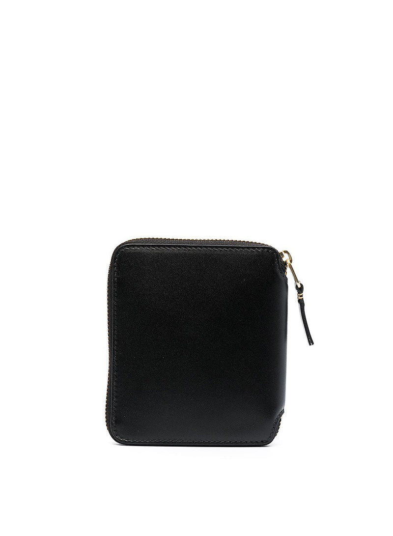 Classic Leather Square Zip Wallet - Black