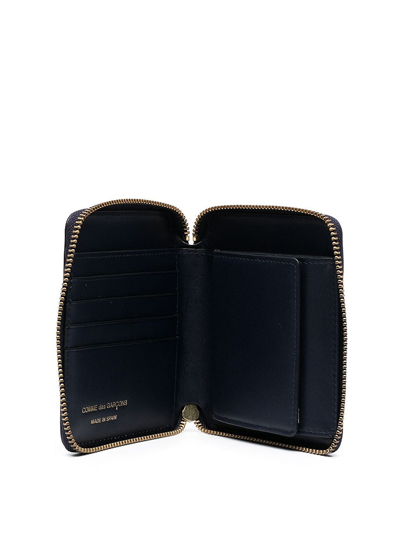 Classic Leather Square Zip Wallet - Navy