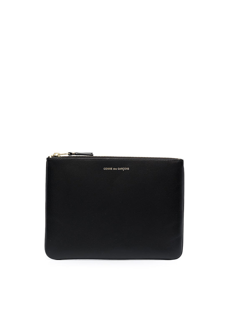 Classic Leather Zip Pouch - Black