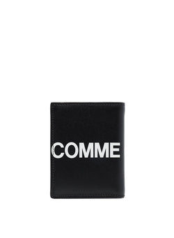 comme des garcons wallet huge logo classic leather fold wallet black ss 2021