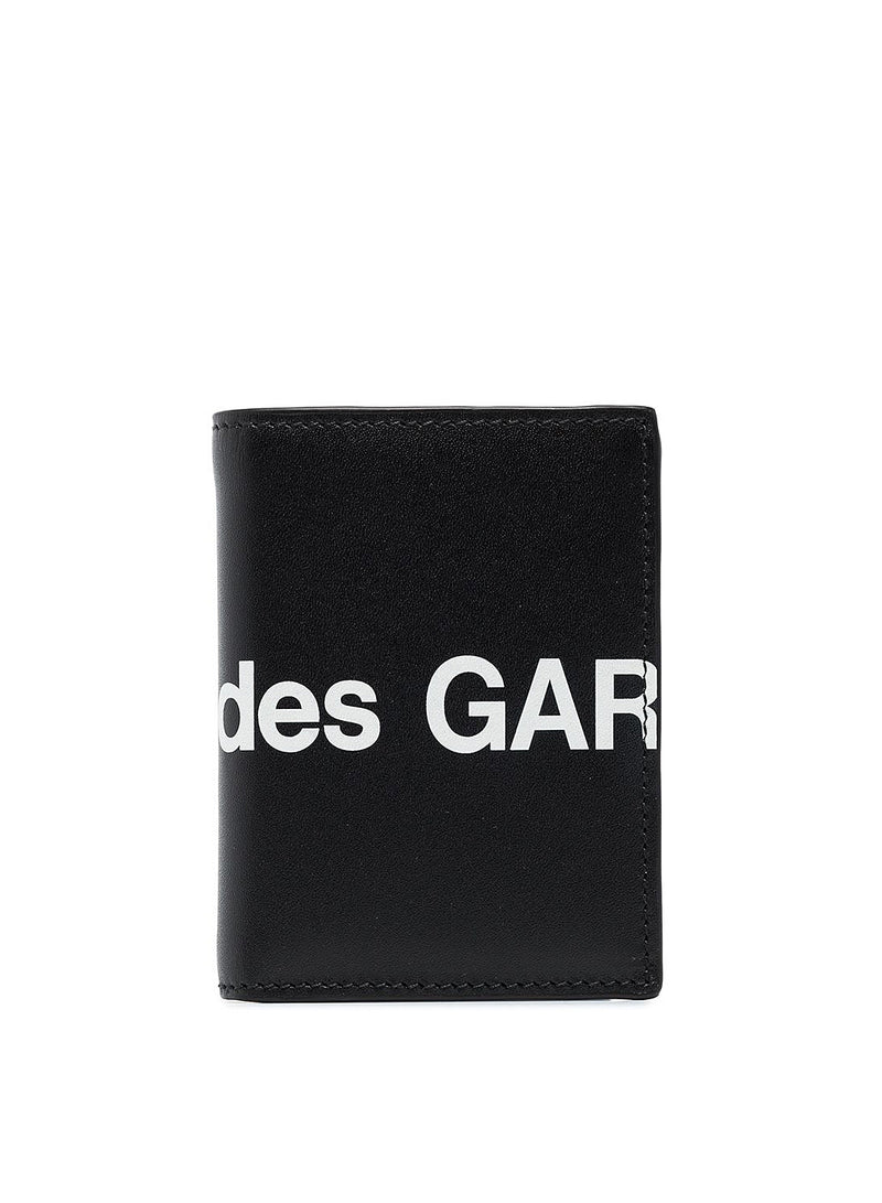 Huge Logo Classic Leather Fold Wallet - Black